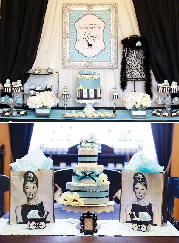 Breakfast at Tiffany's Baby Shower with gorgeous Tiffany's inspired desserts, black & aqua baby shower printables, embroidered onesies, and a brunch buffet.