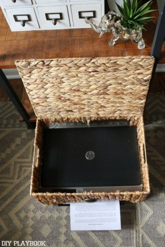 Tutorial on how to Hide a Printer in a @homegoods basket. Genius!! Sponsored Pin.