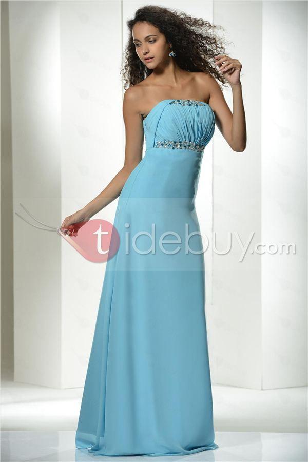 素晴らしいAライン床長さストラップレス帝国イブニングドレス