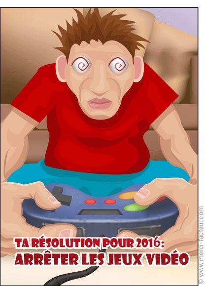 Une carte de voeux 2016 à envoyer aux grands enfants qui jouent encore aux jeux vidéo...