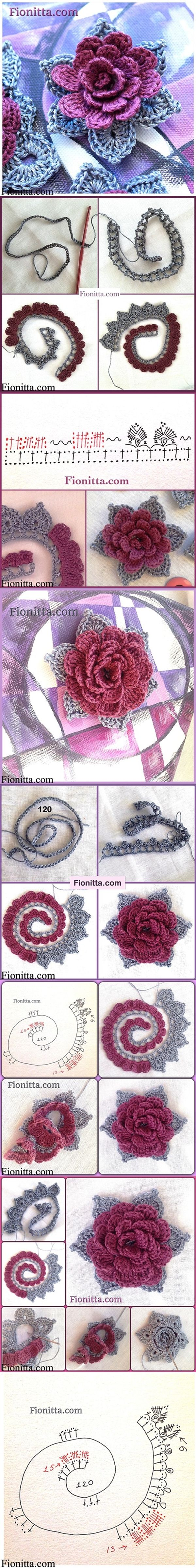 DIY 3D Crochet Rose in 3 Ways | www.FabArtDIY.com LIKE Us on Facebook ==> https://www.facebook.com/FabArtDIY