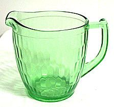 """Depression Glass - Jeannette - Hex Optic - Green - Pitcher 5 3/4"""""""