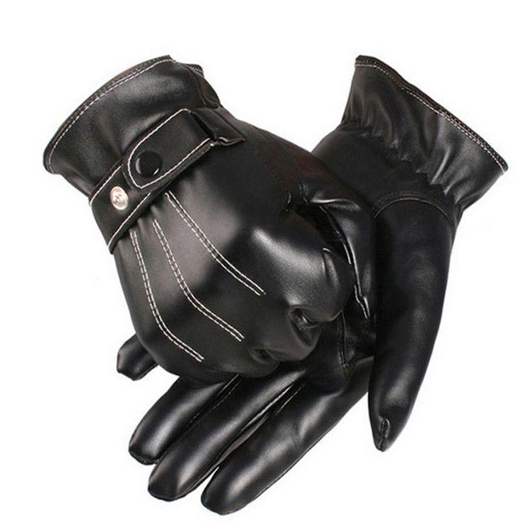 Men's Winter Gloves Leather Mitten Motorcycle Hand Gloves in Black 1 Pair New #Unbranded #DrivingGlovesMittens