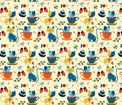 Kittens and Mittens fabric by theboutiquestudio on Spoonflower - custom fabric