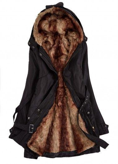 Black Hooded Faux Fur Lined Parka Coat