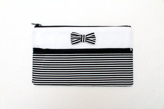 Sale! Cute Striped Pencil Case/ Makeup Bag 19cm x 11.5cm With Two Zippers and Bow
