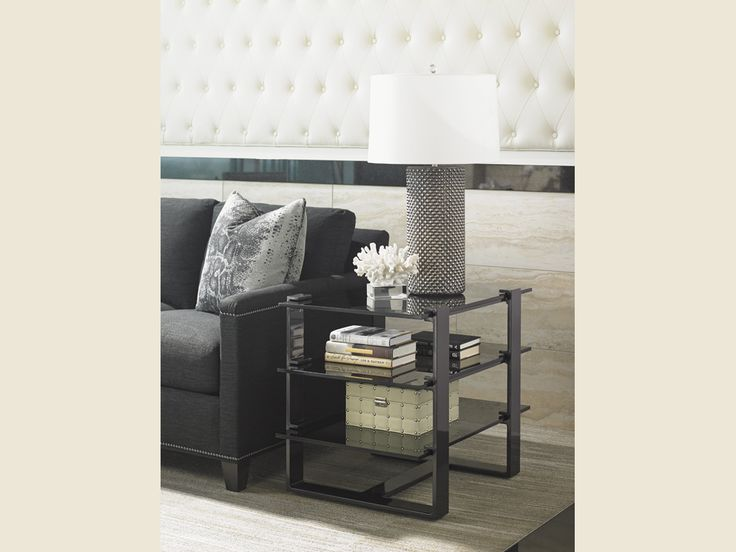 Carrera RHodium End Table, #smoked glass, #gray aluminum base - Lexington Home Brands | Get the latest styles from Lexington Furniture at the Heritage House Home Interiors locations in Sarasota and Pinellas Park, Florida