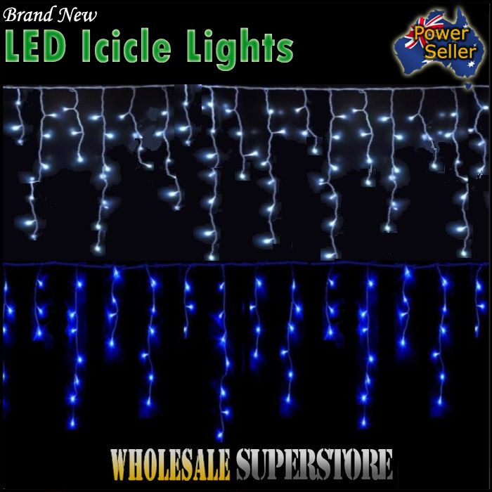 600 LED Icicle Lights  Christmas Party Wedding Ultra Bright-memory WHITE or BLUE
