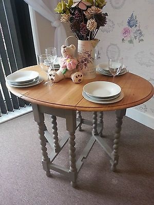 Shabby Chic Solid Oak Drop Leaf Gate Leg Dining Table Barley Twist | EBay.  Another