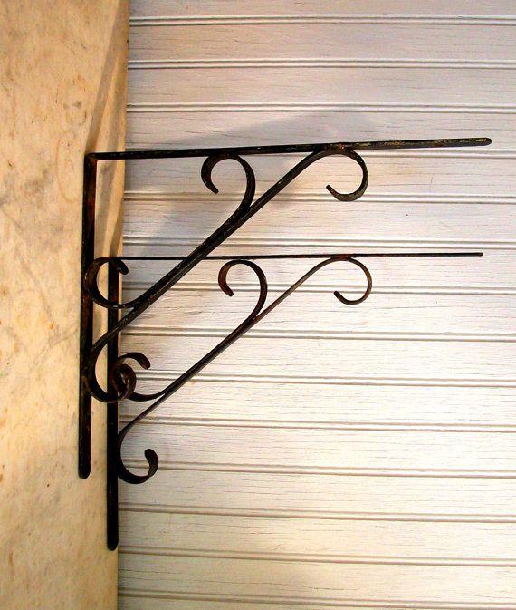 vintage wrought iron scrolled shelf brackets
