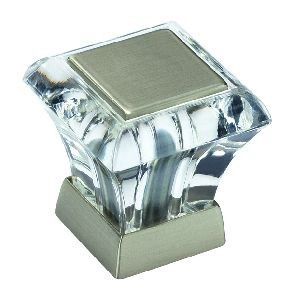 Good Amerock 1 Inch Abernathy Square Knob In Glass / Satin Nickel