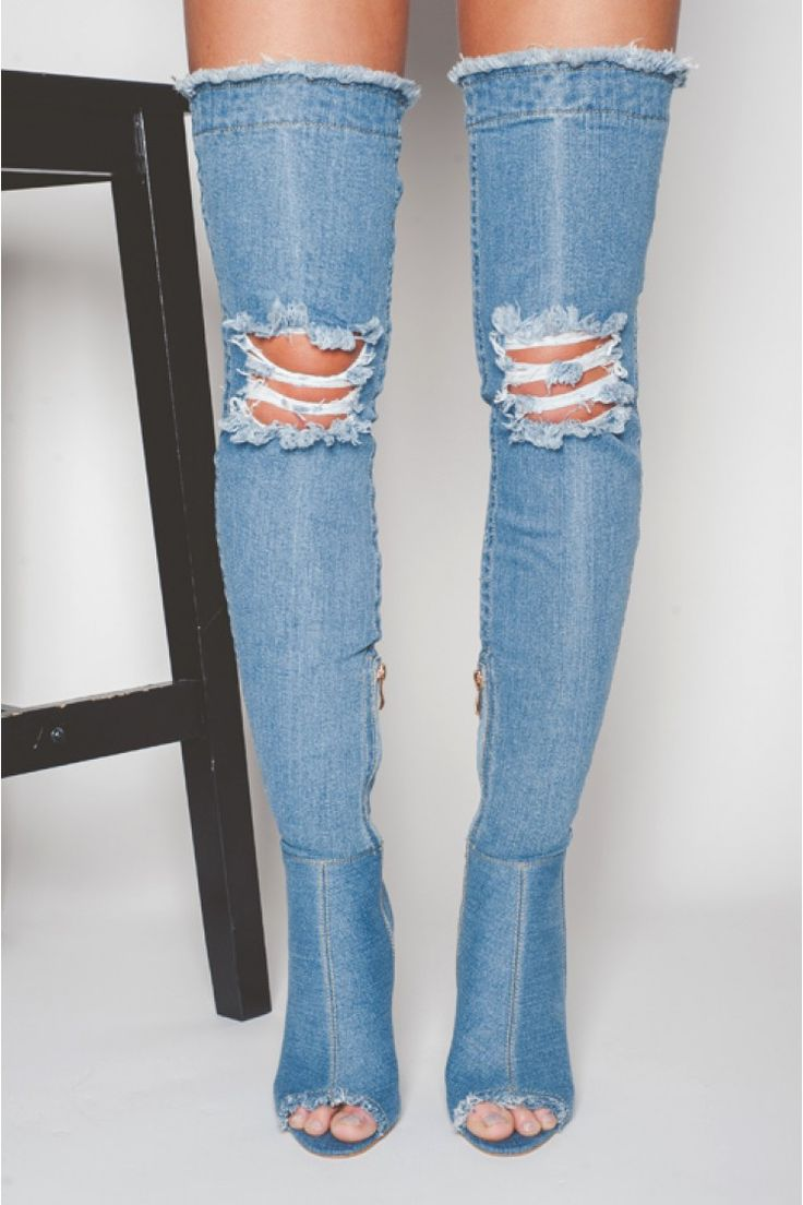 Maya Ripped Thigh Boots in Mid Blue Denim Lycra