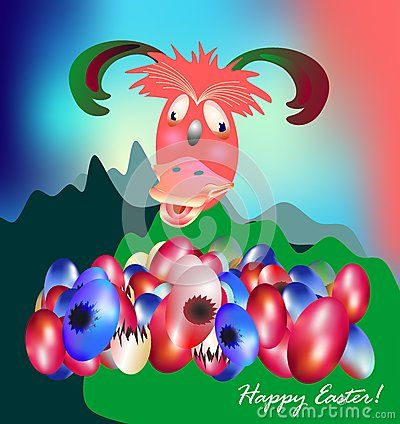 Funny Easter With Funny Creature And Eggs - Download From Over 40 Million High Quality Stock Photos, Images, Vectors. Sign up for FREE today. Image: 65634785