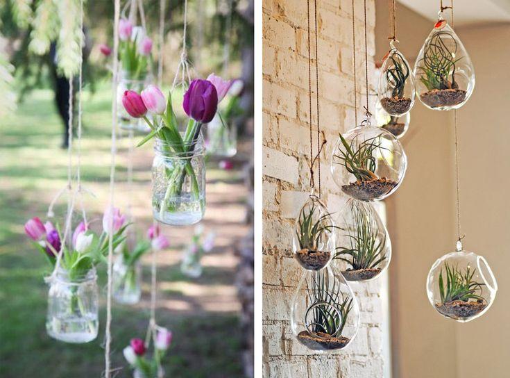 Floating garden con barattoli e bocce di vetro