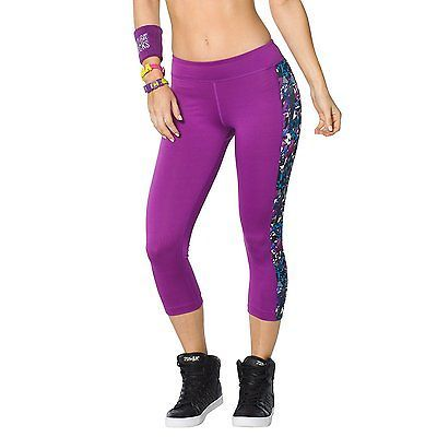 Medium, Purple - Perfectly Purple, Zumba Fitness WB Women's Capri Leggings Mashe