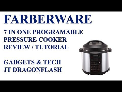 Farberware 7 in one Electric Pressure Cooker Review/Tutorial   Featuring a large 6-quart capacity and 9 preset cooking functions, the Farberware 6-Qt Pressure Cooker is sure to become one of your most useful kitchen appliances.
