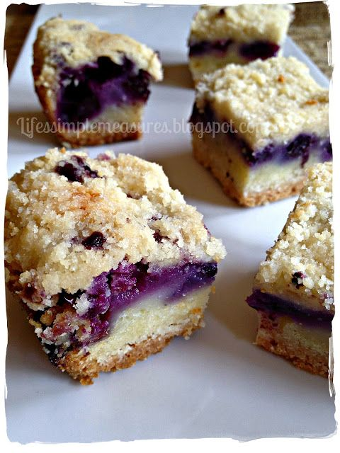 Recipe for Blueberry Pie Bars - The joy of these bars is that, aside from delicious bursts of juicy blueberries, is that this recipe calls for only one mix for the crust and crunchy topping.
