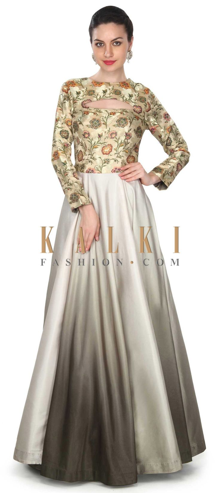 Buy this Shaded gown in olive enhanced in fancy cuts only on Kalki