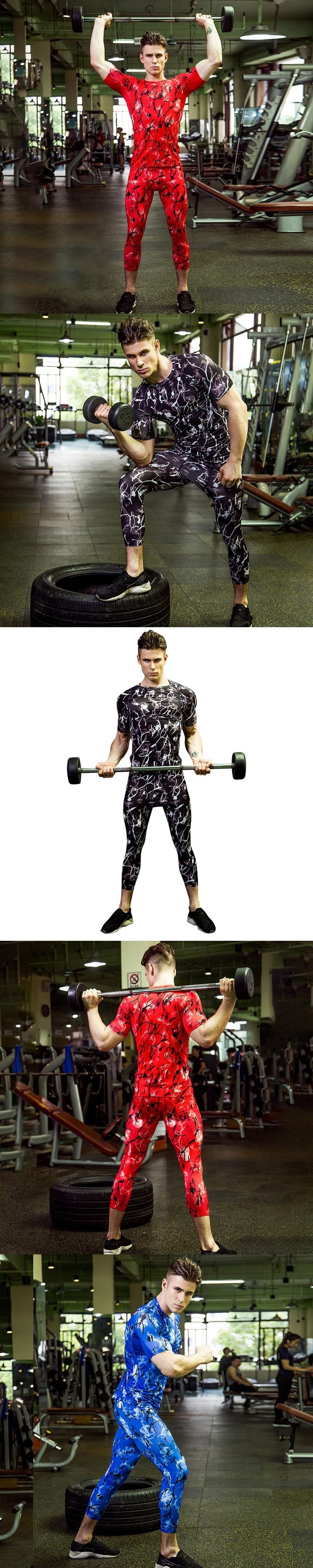 YD Running Set T-Shirt and Pants Men Compression Tights Underwear Sets Crossfit Bodybuilding Fitness Sport Suit Men's Sportswear