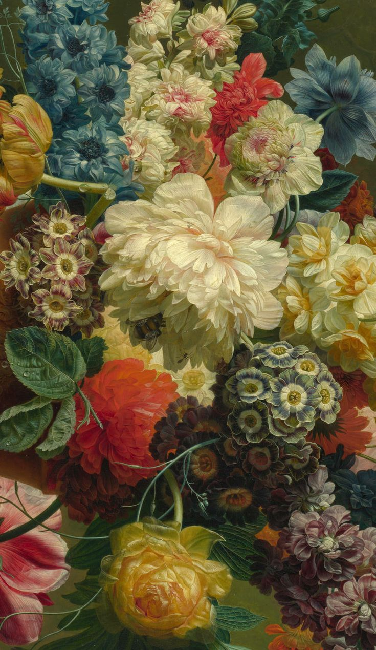 old masters gorgeous flowers that arent on your balcony probably but wish they were :-) Flowers in a Vase, (detail), Paulus Theodorus van Brussel, 1792