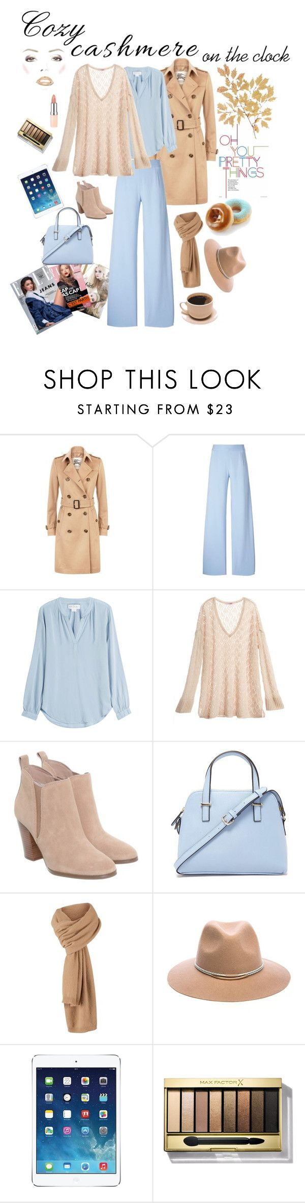 """Cozy cashmere on the clock"" by marina-bencun ❤ liked on Polyvore featuring Burberry, Christopher Kane, Velvet, Calypso St. Barth, Michael Kors, Forever 21, Michael Stars, Kerr®, Apple and Max Factor"