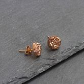 Druzy Rose Gold Plated Sparkle Stud Earrings