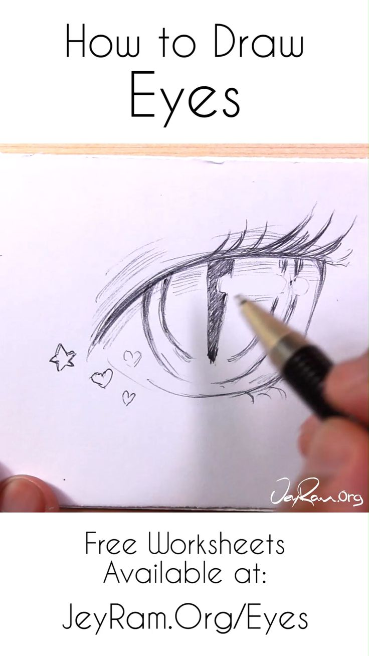Learn how to draw beautiful female anime eyes using this step by step process made for beginners (on the site). Grab the free worksheets on the website and learn how to draw the simple eyes by developing the basic shapes of the eyes and then adding complexity. Drawing human anatomy is immensely satisfying and these free worksheets will help you make quick progress! By JeyRam #tutorial #howtodraw #anatomy #illustration #art #anime #manga