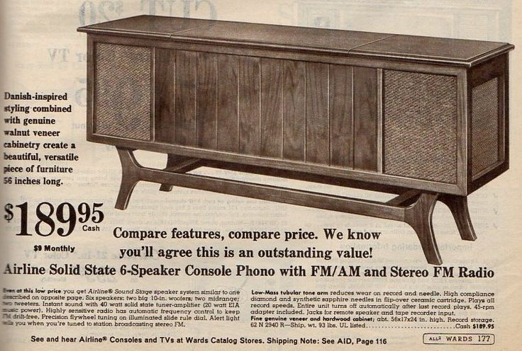 Airline Phono Radio Cabinet From Montgomery Ward 1966