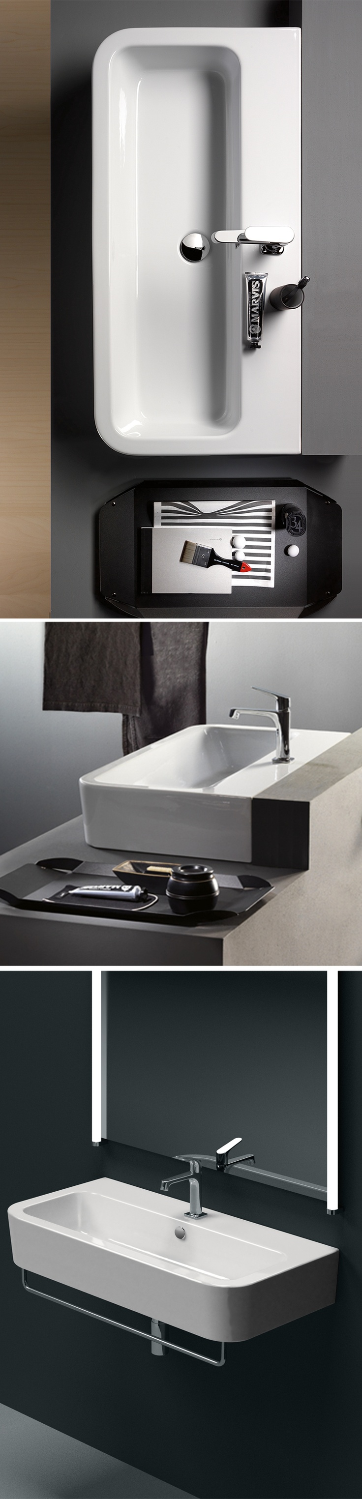 GSI ceramic | Traccia, Washbasin 90x44  #GSIceramica #BathroomDesign #Washbasins #Sanitaryware