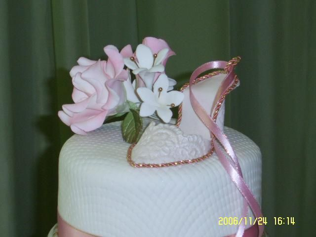 Fondant Shoe - This shoe is the top of a 15 th birthday cake.  It is made in fondant imprinted with a lace mold.