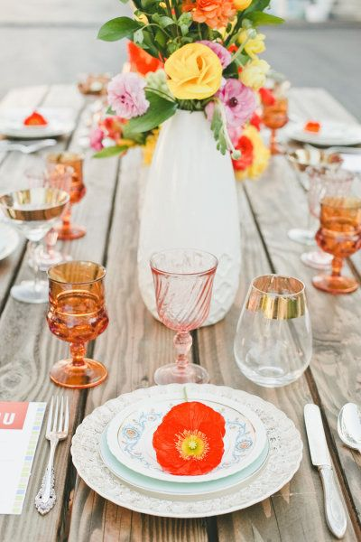 vintage plating and glassware mixed with bright blooms | Photography by onelove-photo.com |  Design and Coordination by winkwed.com |  Florals by flourla.com |   Read more - http://www.stylemepretty.com/2013/07/03/color-blocked-wedding-inspiration-from-onelove-photography/