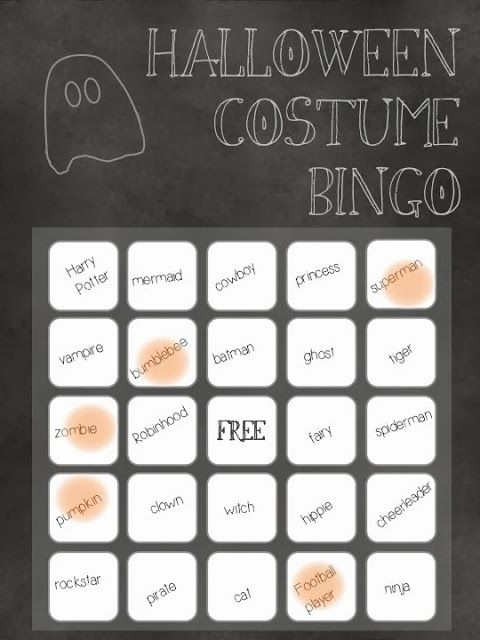 Halloween Costume Bingo- free printable!