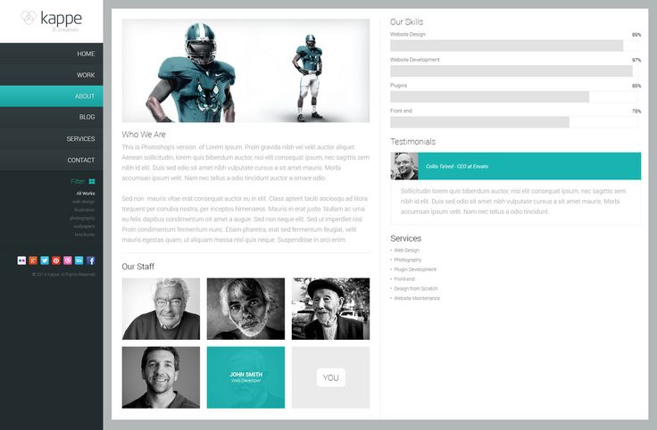 Free Creative PSD Theme - About Page