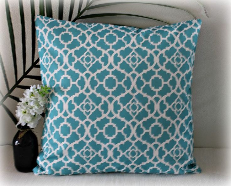 TEAL LATTICE THROW CUSHION COVER  INDOOR/OUTDOOR Decorative Cushion Cover
