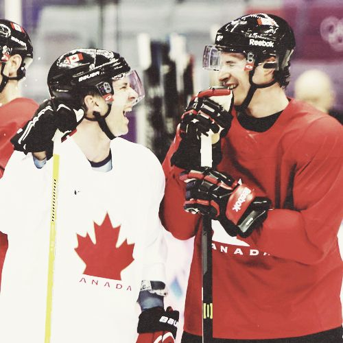 Sidney Crosby and Martin St. Louis during a team practice in Sochi.  CBC Olympics, Sochi 2014