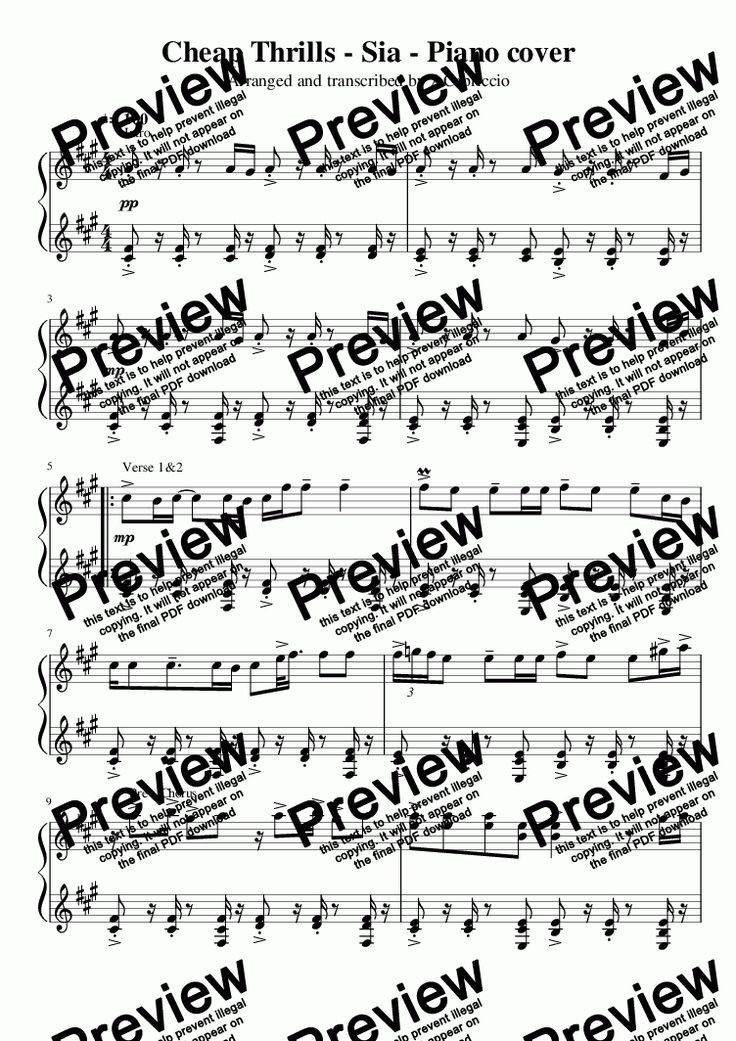 Cheap Thrills - Sia - Piano cover - Solo instrument (Piano) by Sia - Download Sheet Music PDF file