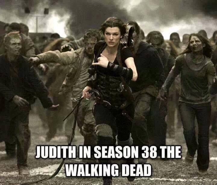 Judith in Season 38 of The Walking Dead but obviously Alice from Resident Evil