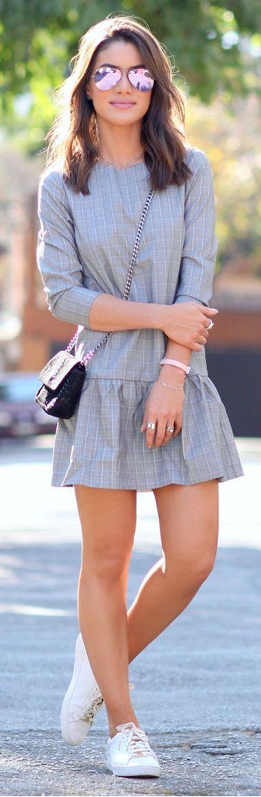 Camila Coelho White Sneakers And Grey Peplum Dress Outfit Idea