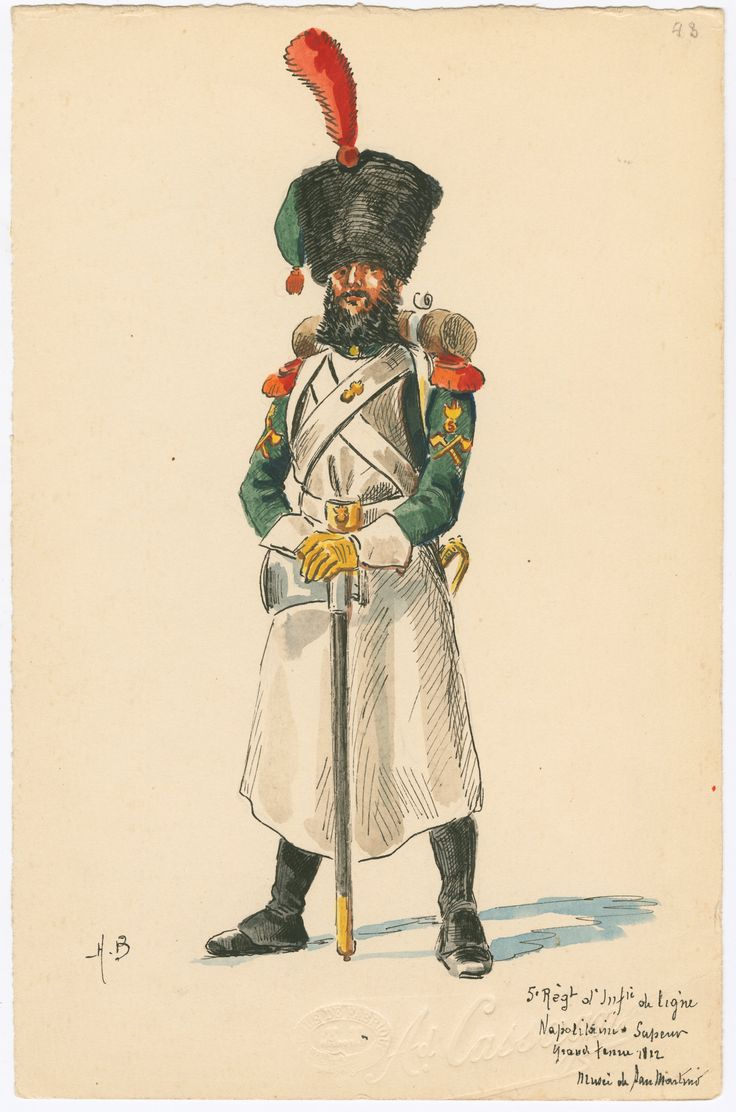Kingdom of Naples; 5th Line Infantry, Sapper, Grande Tenue, 1812 by H.Boisselier
