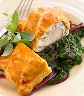Recipe: Herb Chicken in Pastry Summary: What a great entrée to serve to your guests! Chicken breasts top a herb cream cheese base before being wrapped in puff pastry sheets and baked until golden. Ingredients 1/2 of a 17.3-ounce package Pepperidge Farm Puff Pastry Sheets (1 sheet), thawed 1 egg 1 tbsp. water Ground black …