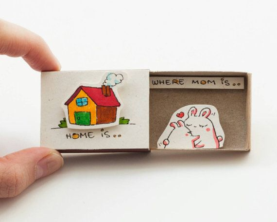 "Mother's Day Card ""Home is where mom is"" Matchbox/ Gift box / Message box"