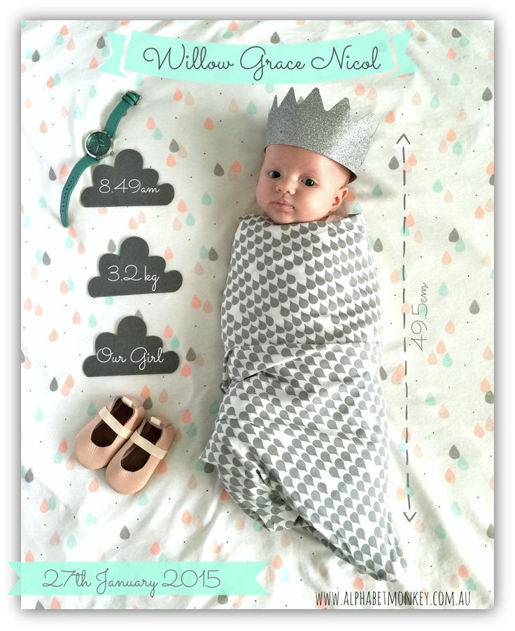 Girl birth announcement by www.alphabetmonkey.com.au