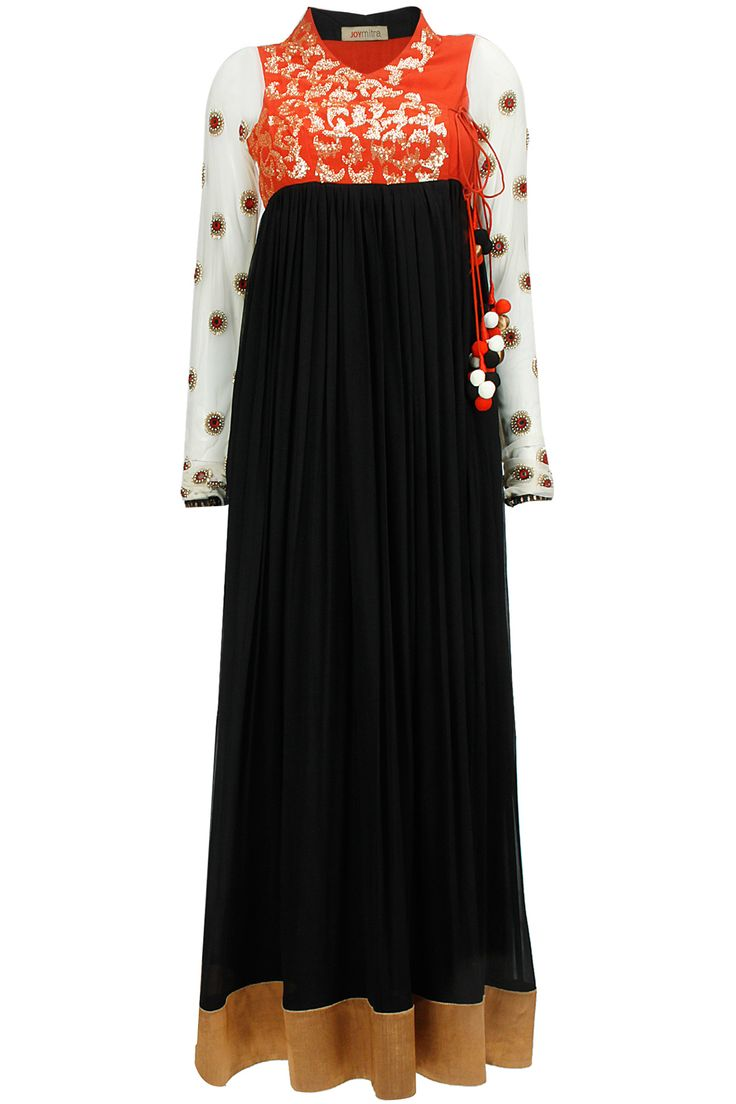 Black and red angrakha anarkali set with yellow dupatta available only at Pernia's Pop-Up Shop.