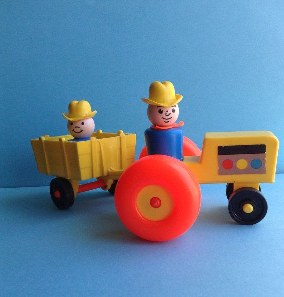 Fisher Price vintage toy set, vehicle and figures, farmer / cowboy / tractor, father & son, Little People, original 70s, educational toys on Etsy, 13,35€
