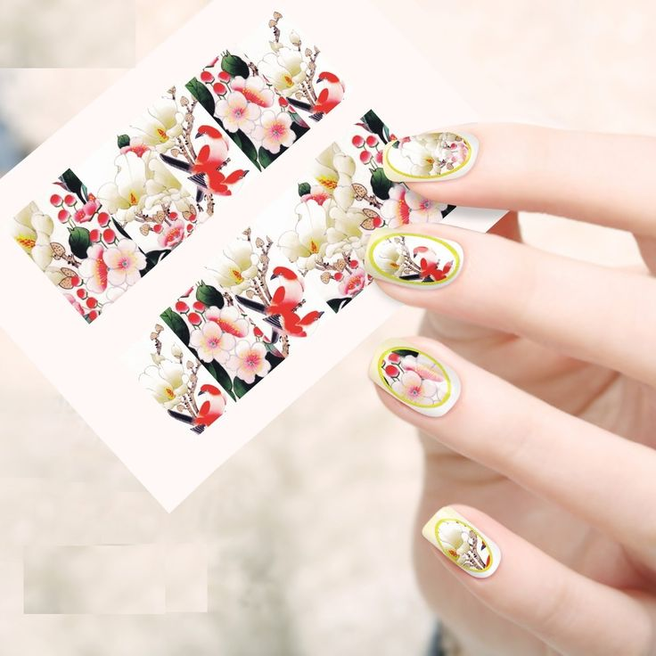 2016 New Style 1 Sheet Nail Art Women Beauty Water Transfer Full Cover Nails Designs Flower Decals Accessory Nail Art Sticker
