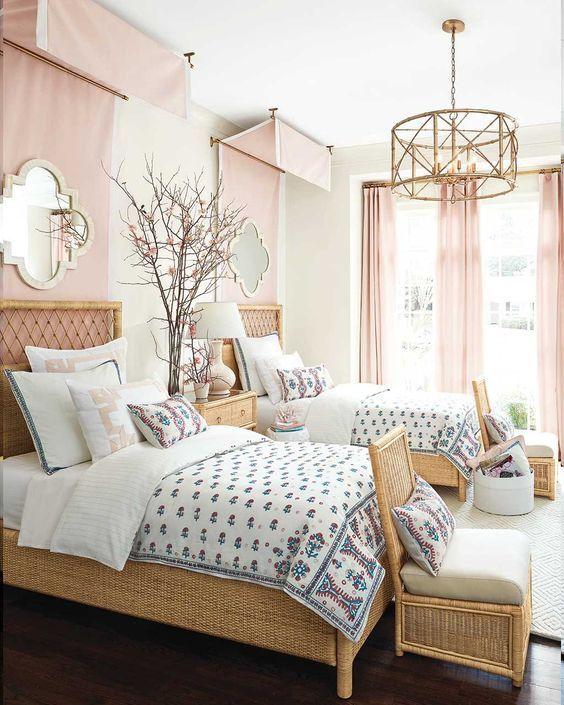 Podcast 50 with Suzanne Kasler: Pink bedroom with twin beds, pink canopy panels, and embroidered bedding design by Suzanne Kasler for Ballard Designs