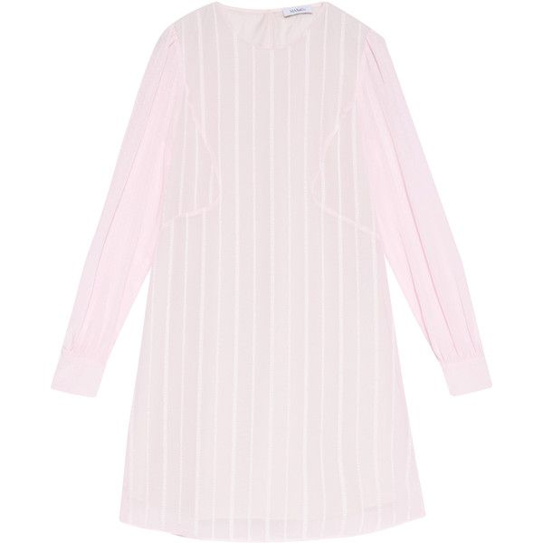 MAX&Co. Dress with stripes and mini polka dots (705 BRL) ❤ liked on Polyvore featuring dresses, pink, puff sleeve dress, long day dresses, wet look mini dress, polka dot dress and polka dot mini dress