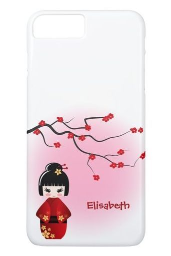 Cute Japanese kokeshi chibi doll at sakura blossoms iPhone 8/7 plus Case. #cute #chibi #iphone #cases #plus