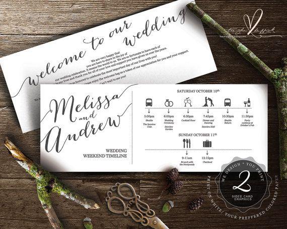 Druckbare Hochzeit Wochenende Timeline t0100 von TeeshaDerrick