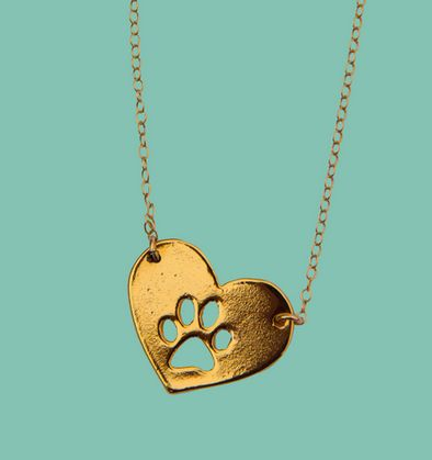 gold heart paw necklace